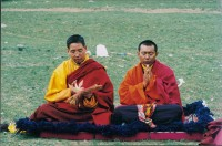 Traleg Rinpoche and Lodro Nyima Rinpoche in the Charnel Grounds near Thrangu Monastery, Kham Tibet, saying prayers for those who had recently passed, during Traleg Rinpoche's first visit back to Tibet since his escape in 1959.